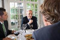 Three businessmen having lunch