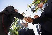 Four businessmen shaking hands in a garden