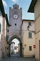Clock tower in a city, Borgo San Lorenzo, Florence, Tuscany Region, Italy