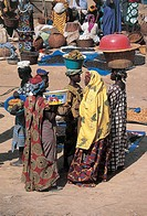 High angle view of a group of women in a market, Djenne, Mali