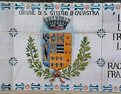 Italy - Sicily Region - Santo Stefano di Camastra - Majolica panel depicting the coat of arms of Santo Stefano di Camastra