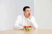 man, salad