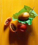 Tamarillos, whole and halved