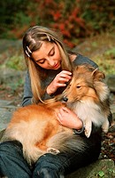 girl with Sheltie