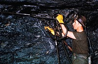 Industry, Mining, Coal, Underground, Miner with drill,