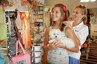 Headband, girl, mother, shopping, dog. Diva Unique Gifts. Main Street. Culver. Indiana. USA.