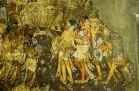 Close-up of a mural in a cave, Ajanta, Maharashtra, India