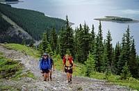 Hiking in Kananaskis Country Recreation Area, Upper Kananaskis Lake, Alberta, Canada