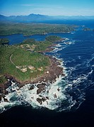 Aerial view of Amphitrite Point, Ucluelet, British Columbia, Canada