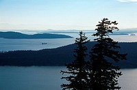 Gulf Islands, Saturna Island, view from Mount Warburton Pike to islands, British Columbia, Canada