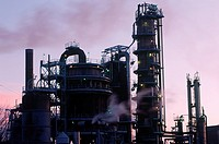 Petrochemical refinery at sunrise - Towers sillouette, British Columbia, Canada