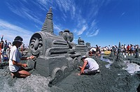 Parksville beach sandcastle contest, Vancouver Island, British Columbia, Canada