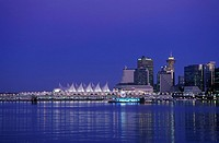 View of downtown and canada place from Stanley Park, Vancouver, British Columbia, Canada