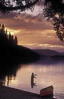 fly-fishing on Bowron Lakes, British Columbia, Canada
