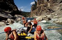Group of people whitewater rafting on Lower Elk River in Elk Valley near Fernie, East Kootenays, British Columbia, Canada