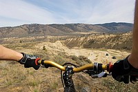 Mountain biker riding at ´The Ranch´, Kamloops, British Columbia, Canada