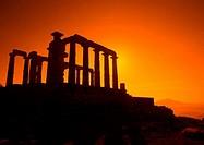 Sunset on Greek Ruins, Cape Sounion, Poseidon, Greece