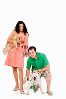 Young couple with their dogs