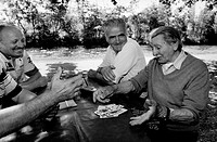 group of elderly men playing cards, ticino park, lombardia, italy