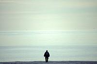 Man Walking Along An Empty Beach