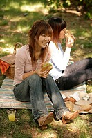 Young women in park