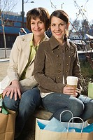 Mother and Daughter Having Coffee