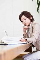 Business Woman on Desk