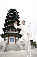 Man practising martial arts