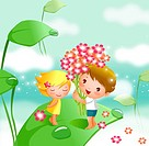 Side profile of a boy giving flowers to a girl