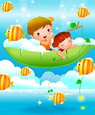 Boy and a girl sitting on a boat and fishing