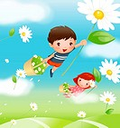 Boy and a girl carrying baskets of flowers and flying over a field