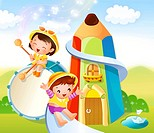 Boy sliding on a slide and a girl playing a drum with drumsticks