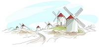 Traditional windmills on a landscape