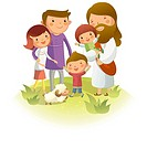 Jesus Christ standing with two generation family