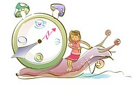 Woman sitting on a snail with a clock beside her