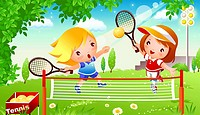 Boy with a girl playing tennis