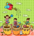 Two boys and a girl gardening