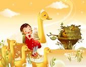 Girl riding a duck