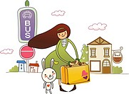 Woman holding a suitcase with a rabbit standing beside her