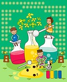 Three children using vases filled with liquid as musical instruments