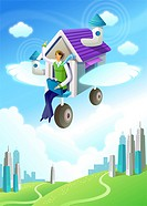 Businessman sitting in a flying house