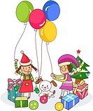 Two girls playing with balloons near Christmas presents