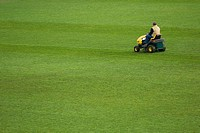 Rear view of a man sitting on a lawn mower