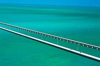 High angle view of two bridges over the sea, Florida Keys, Florida, USA