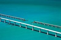 High angle view of bridges over the sea, Florida Keys, Florida, USA