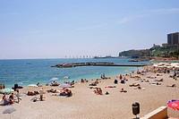 Tourists on the beach, Monte Carlo, Monaco