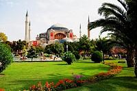 Formal garden in front of mosque, Aya Sofya, Istanbul, Turkey
