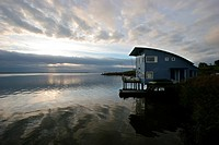 Holiday cottage on stilts in the Lauwersmeer, Oostmahorn, the Netherlands