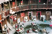 Family living in Viviparus Pit Earth Building, Zhangpu County, Fujian Province of People´s Republic of China, FOR EDITORIAL USE ONLY