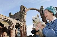 UK, England, Northumberland Heritage Coastline, Holy Island, Berwick-upon-Tweed, Lindisfarne Priory, founded 635 AD.